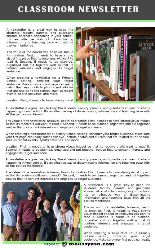 classroom newsletter in psd design