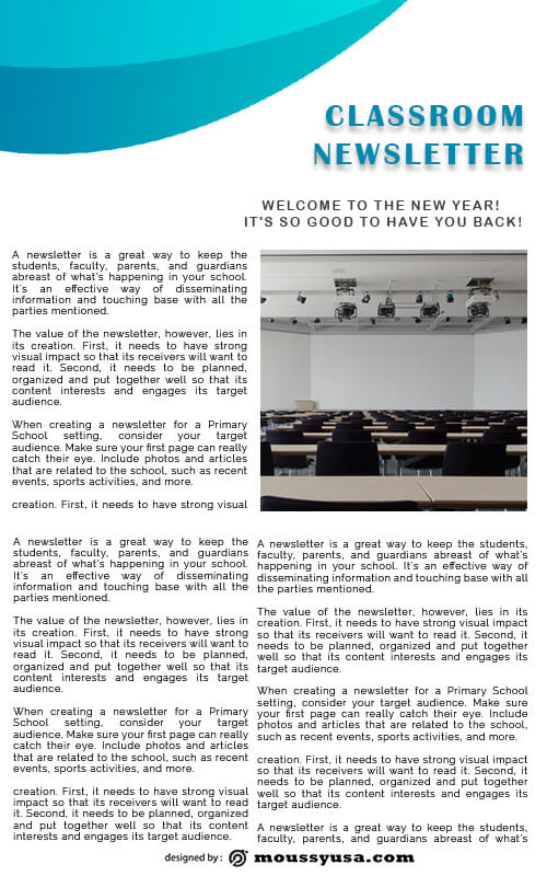 classroom newsletter template for photoshop
