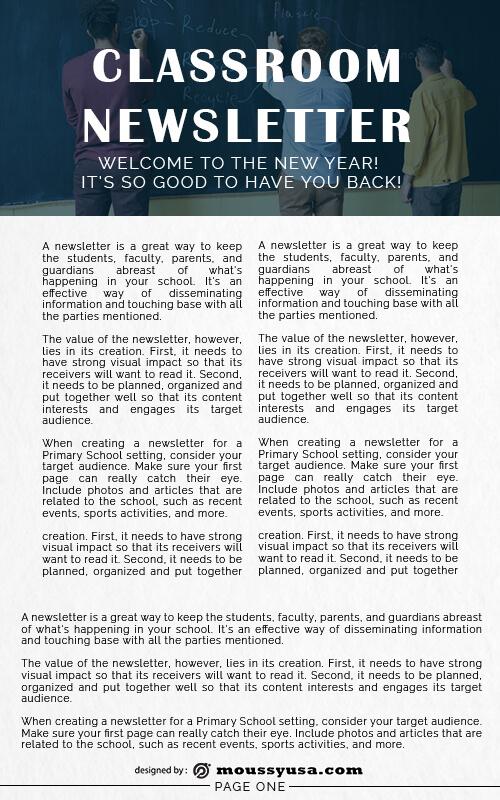 classroom newsletter template free psd