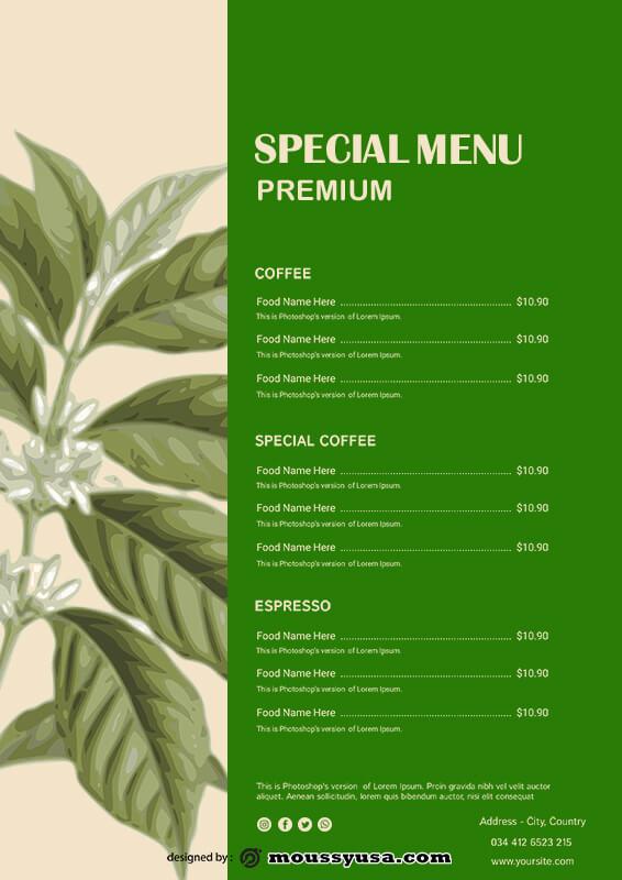 coffee shop menu customizable psd design template