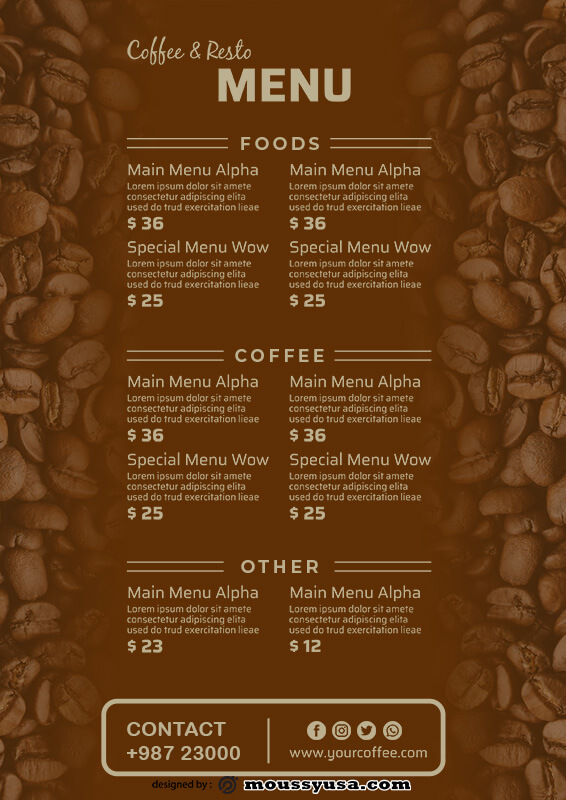coffee shop menu free download psd