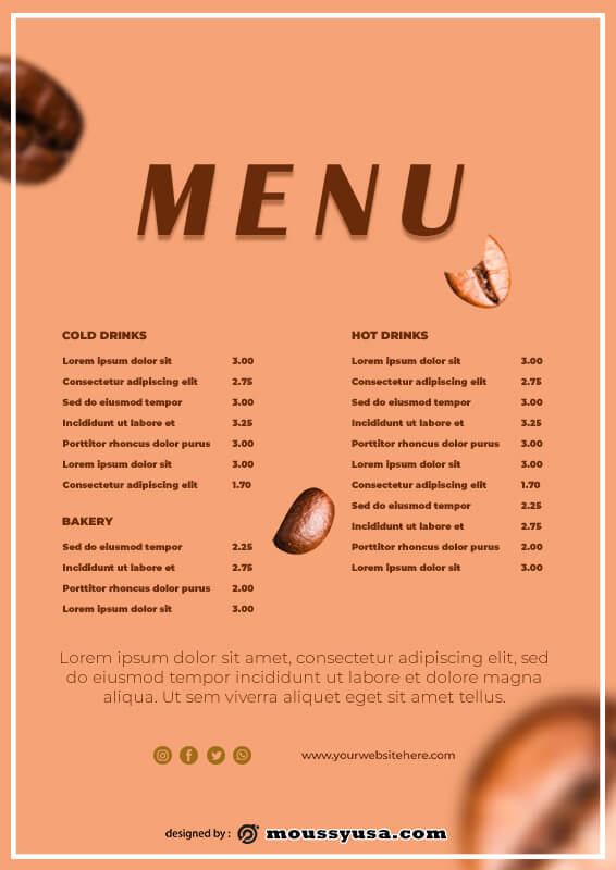 coffee shop menu in photoshop free download