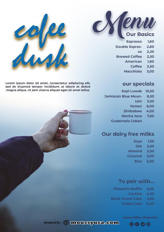 coffee shop menu in photoshop