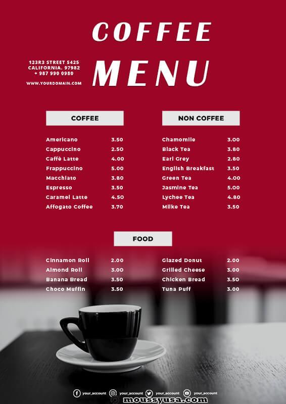 coffee shop menu in psd design