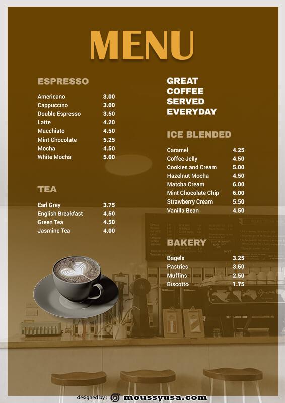 coffee shop menu psd template free