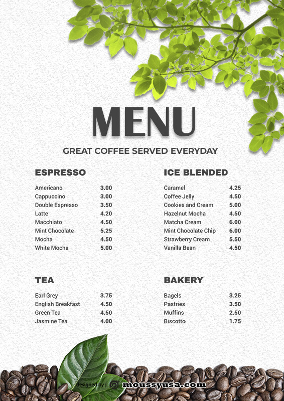 coffee shop menu template for photoshop