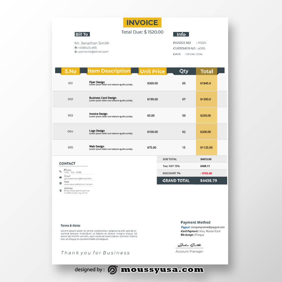commercial invoice customizable psd design template