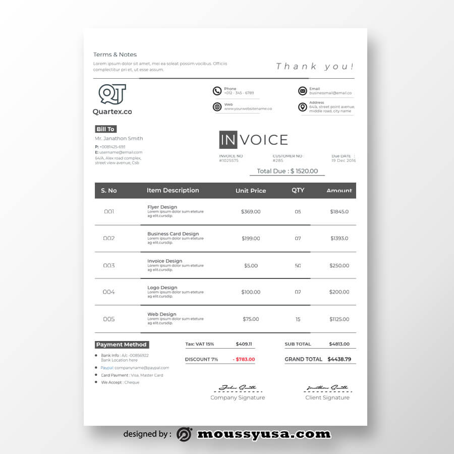 commercial invoice template free psd