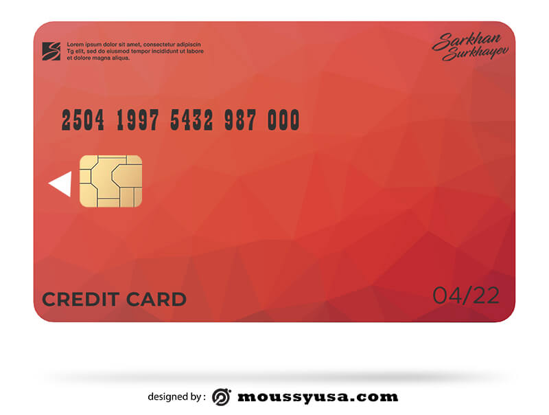 credit card free psd template