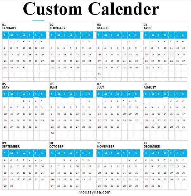 custom calender free download word