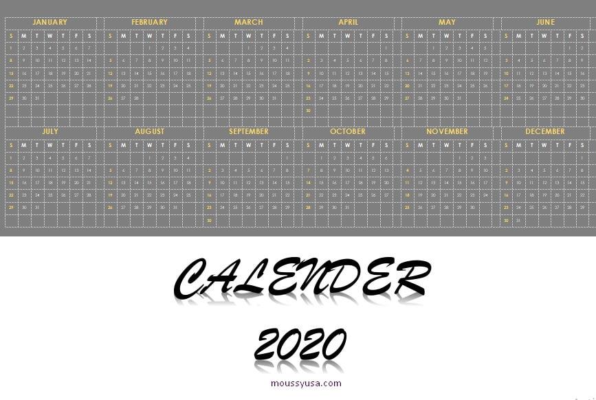 custom calender in word design