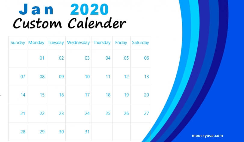 custom calender in word free download