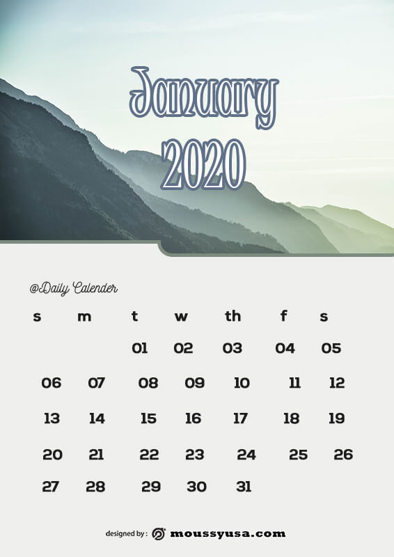 daily calender customizable psd design template