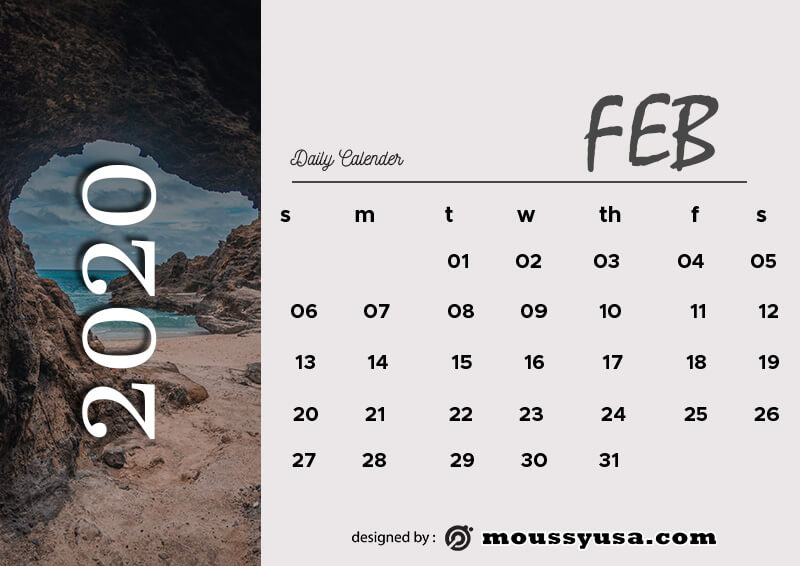 daily calender example psd design
