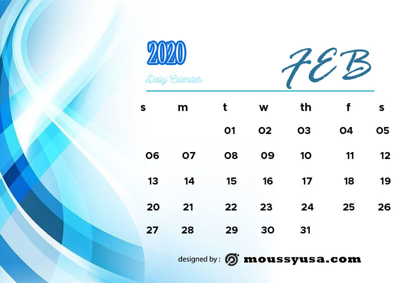 daily calender free psd template