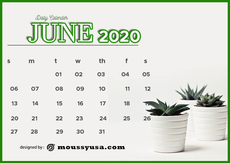 daily calender template for photoshop