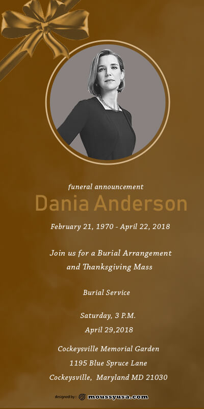 funeral announcement customizable psd design template
