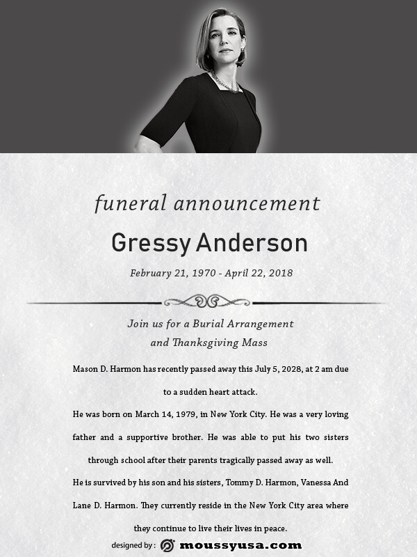 funeral announcement free download psd