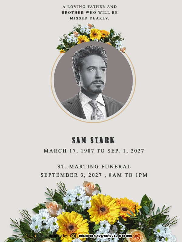 funeral announcement in photoshop free download