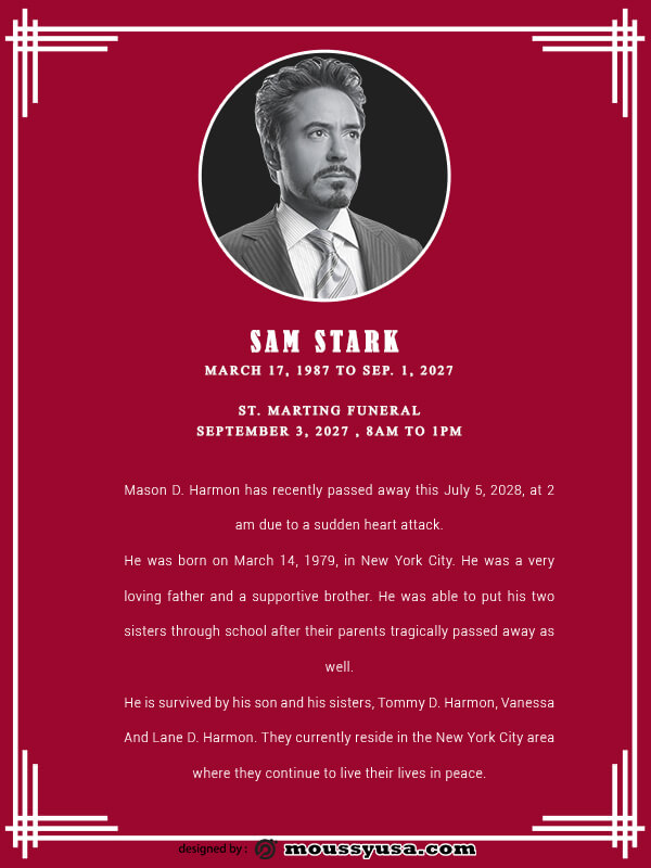 funeral announcement in psd design