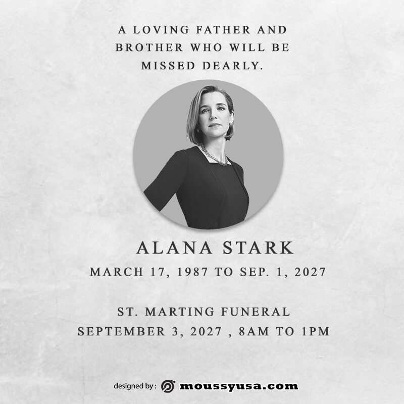 funeral announcement template for photoshop