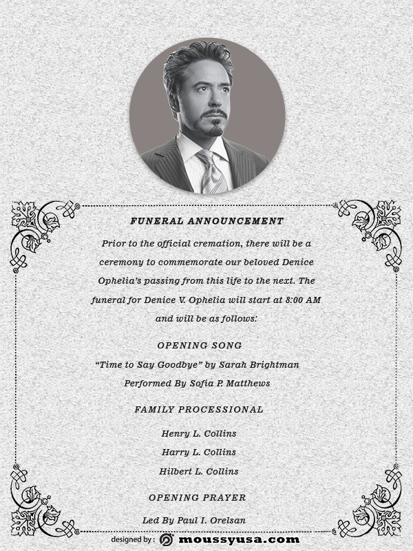 funeral announcement template free psd