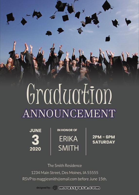 graduation announcement customizable psd design template
