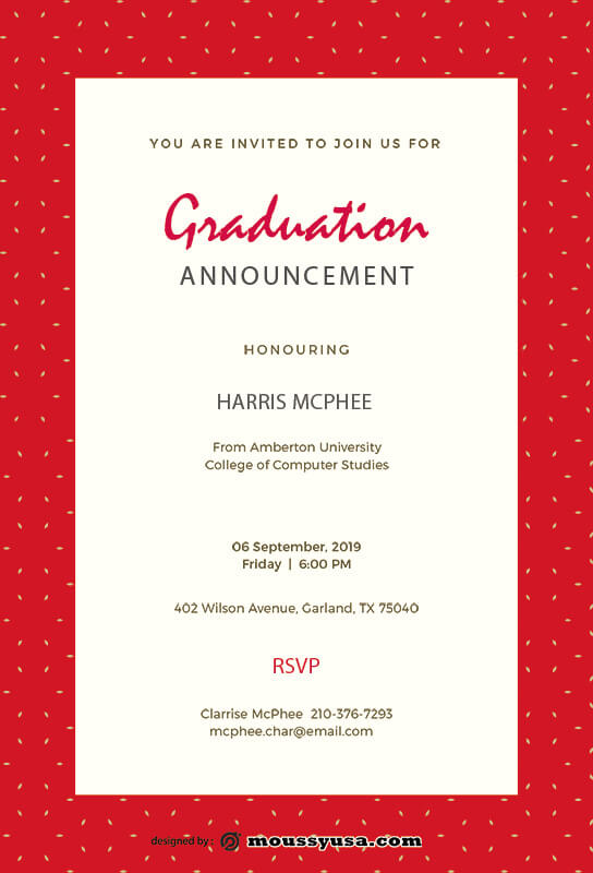 graduation announcement example psd design