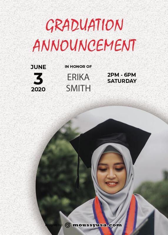 graduation announcement free psd template