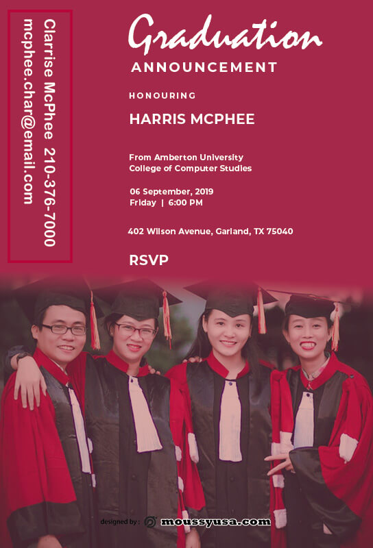 graduation announcement in photoshop free download