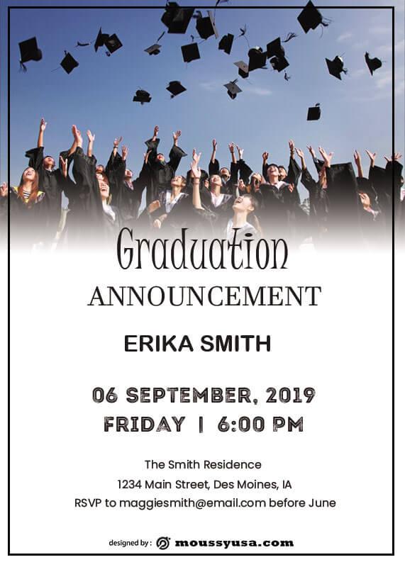 graduation announcement in psd design