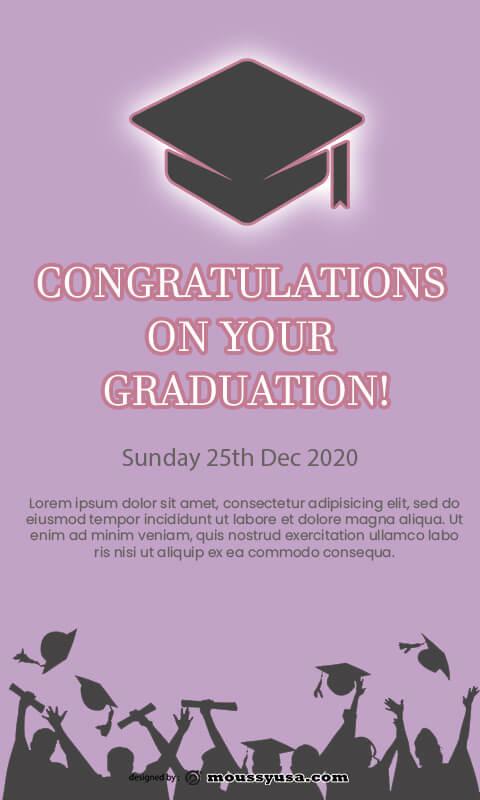 graduation card customizable psd design template