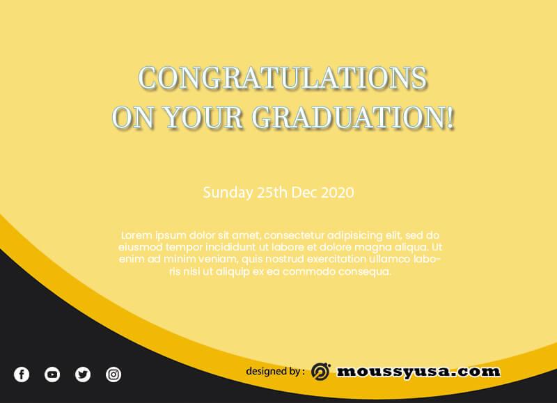 graduation card example psd design