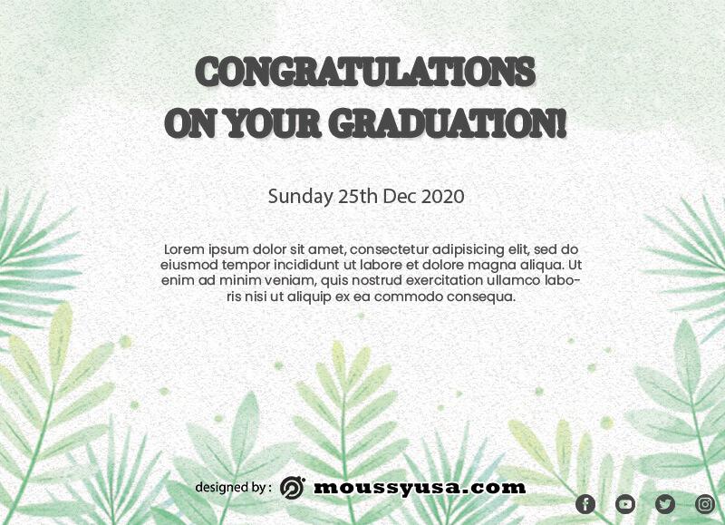 graduation card free psd template