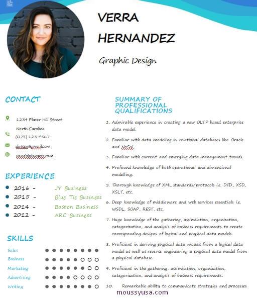 graphic design resume example word design