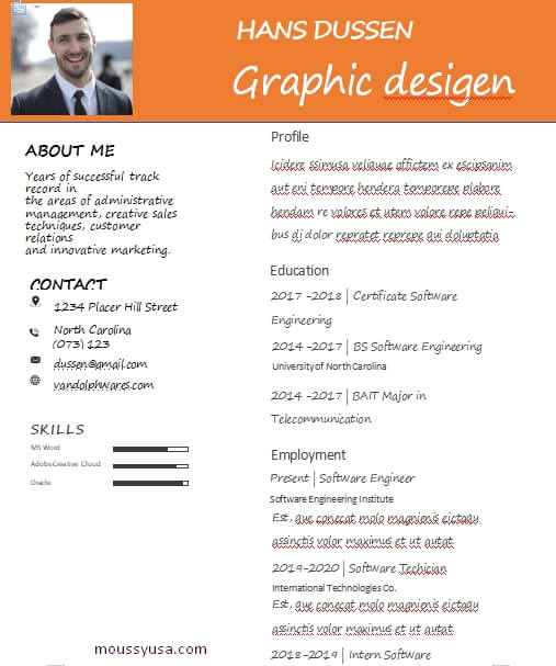 graphic design resume free word template