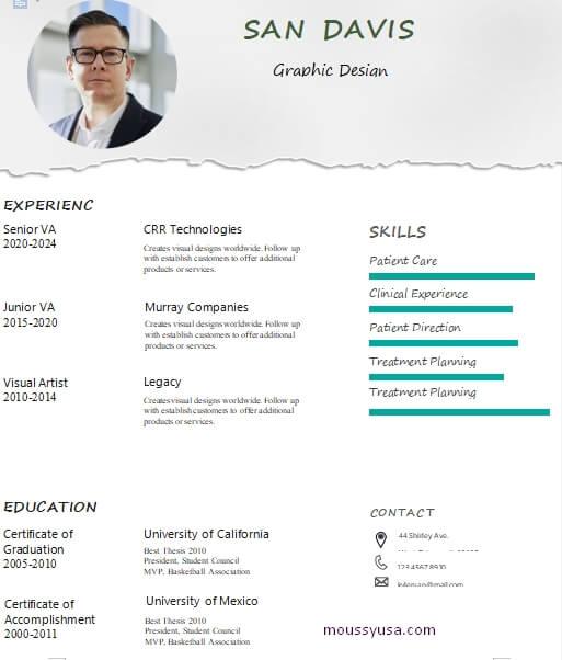 graphic design resume in word design