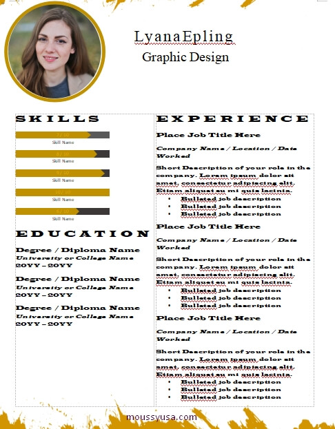 graphic design resume template free word