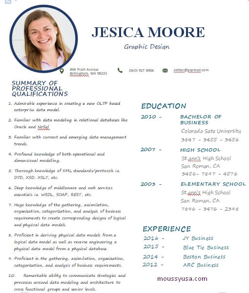 graphic design resume word template free