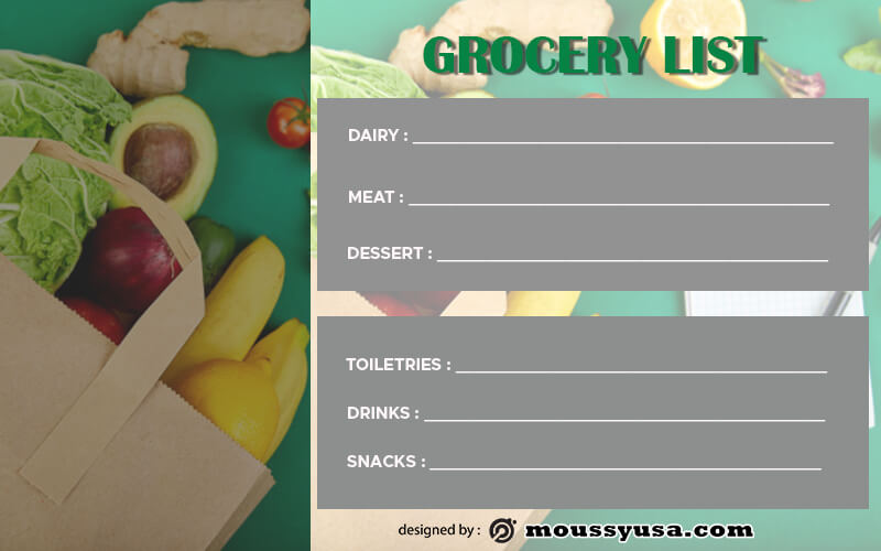 grocery list template free psd
