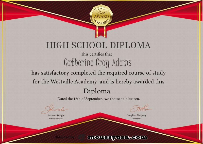 high school diploma customizable psd design template