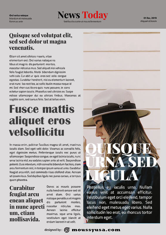 magazine article free psd template