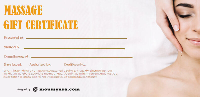 massage gift certificate in photoshop free download