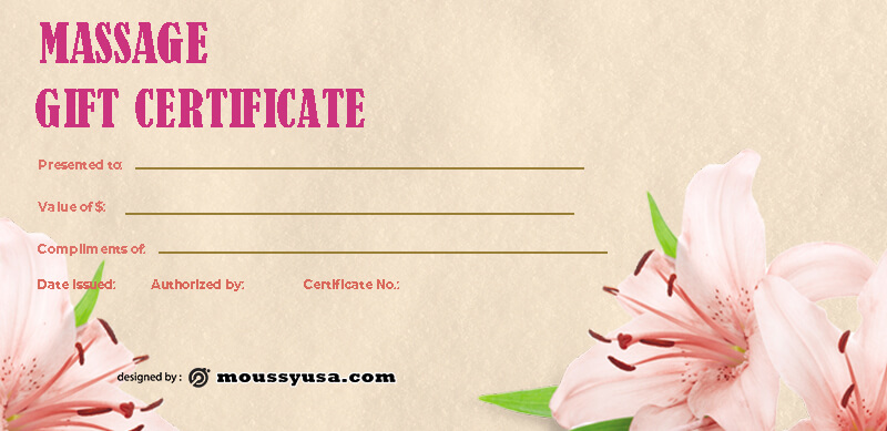 massage gift certificate in photoshop