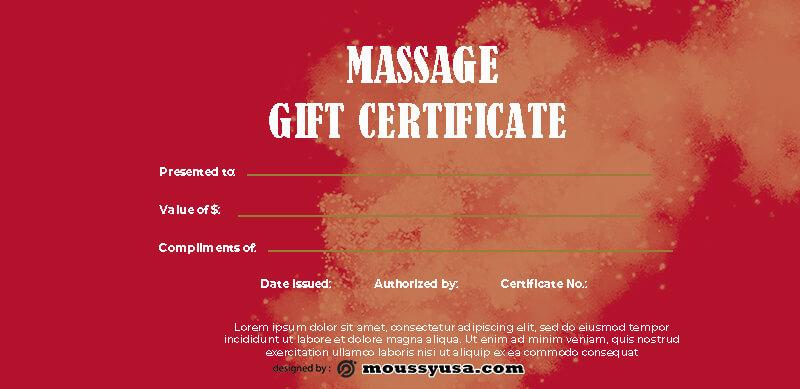 massage gift certificate in psd design