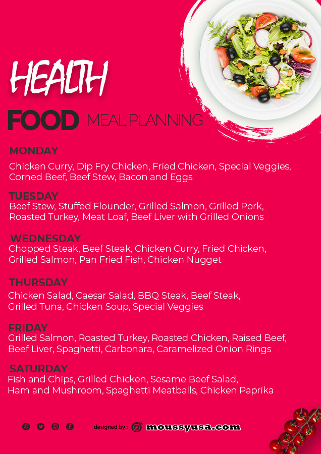 meal planning customizable psd design template