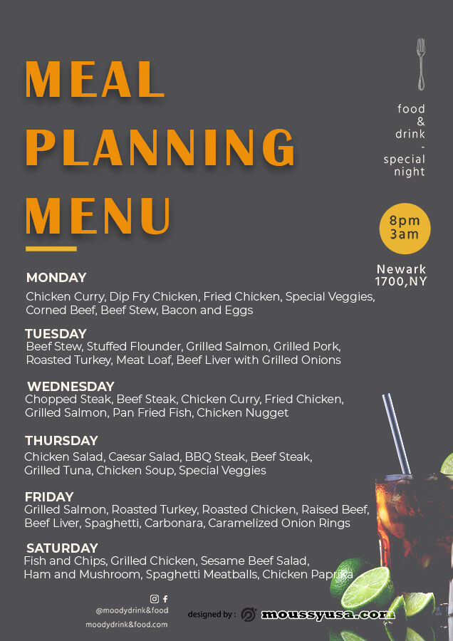 meal planning template for photoshop