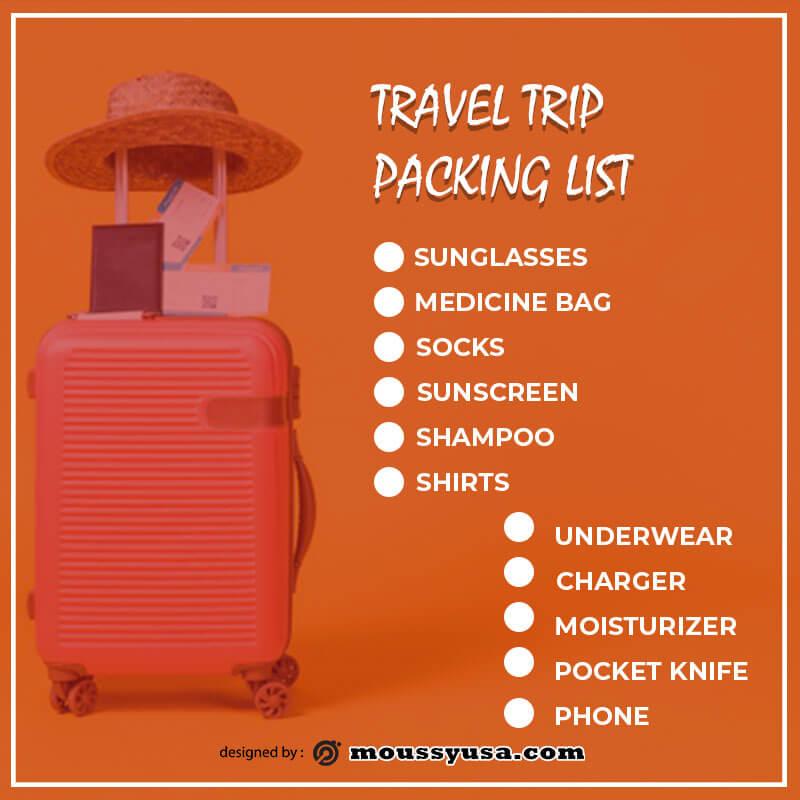packing list customizable psd design template
