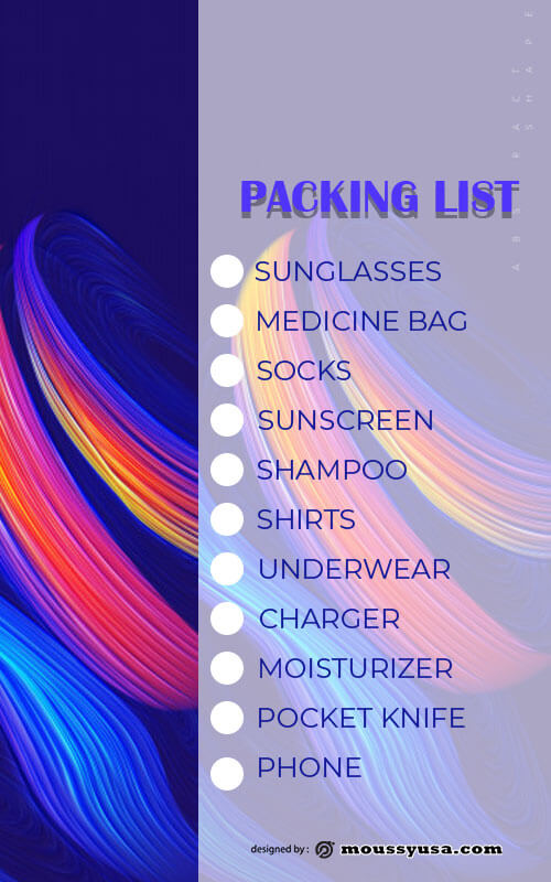 packing list example psd design
