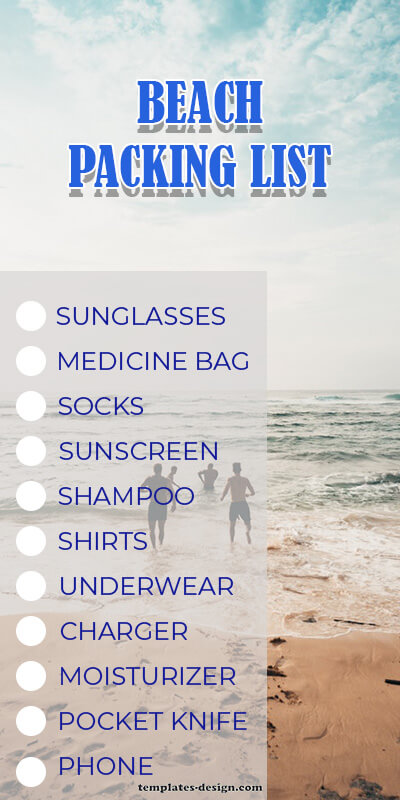 packing list free download psd
